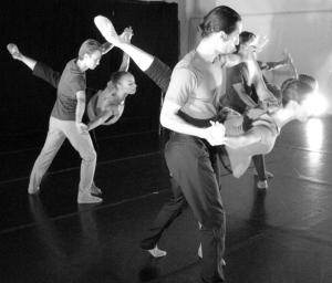 """ARC Dance Company dancers (l-r) Ethan Schweitzer-Gaslin, Stephanie Rae Williams, Daniel Ojeda, Diana Crowder, Graham Gobeille, and Victoria Jahn in Alex-Ketley's """"The-End"""" Photo by ARC Dance Company"""