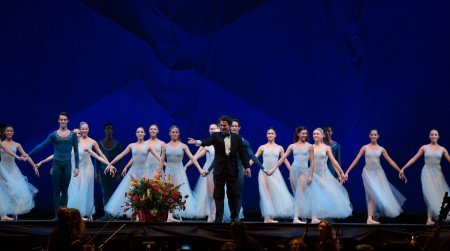 """Boston Ballet in George Balanchine's """"Serenade"""" © The George Balanchine Trust; Boston Ballet dancers and Jonathan McPhee at curtain call following performance Photo by Rosalie O'Connor courtesy Boston Ballet"""