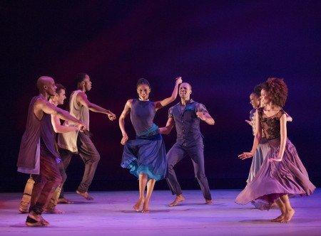 """Alvin Ailey American Dance Theater dancers in Ronald K. Brown's """"Open Door"""" Photo by Paul Kolnik"""