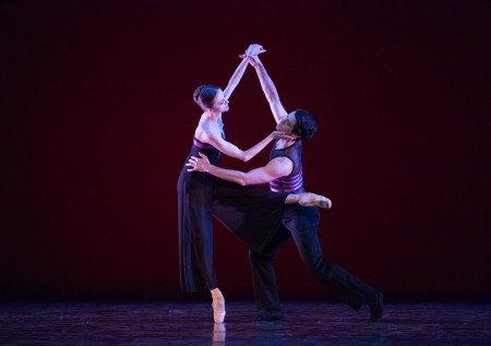 "Pennsylvania Ballet dancers  Oksana Maslova and Ian Hussey  in Christopher Wheeldon's ""Rush"" Photo by Alexander Iziliaev"