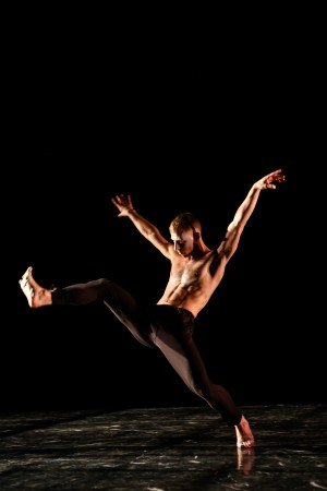 """Stephen Petronio Company dancer Nicholas Sciscione in Steve Paxton's """"Excerpt From Goldberg Variations"""" Photo by JulieLemberger"""