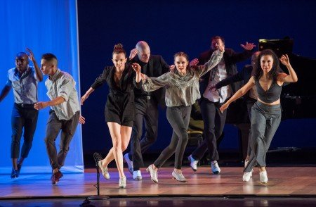 "Michelle Dorrance (3rd from left) and members of Dorrance Dance in ""Myelination"" Photo by Stephanie Berger."