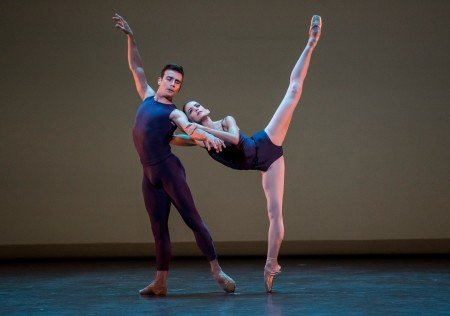 "Miami City Ballet dancers  Emily Bromberg and Renato Penteado  in Christopher Wheeldon's ""Polyphonia"" Photo by Stephanie Berger."