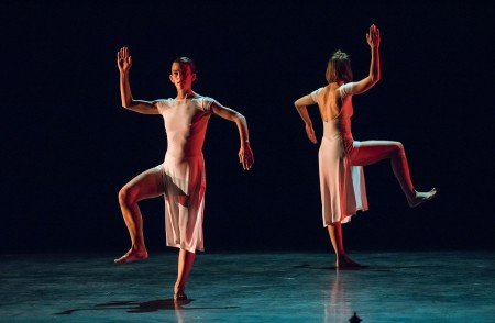 "Trisha Brown Dance Company dancers Cecily Campbell (front) and Jamie Scott in ""You can see us"" Photo by Stephanie Berger."