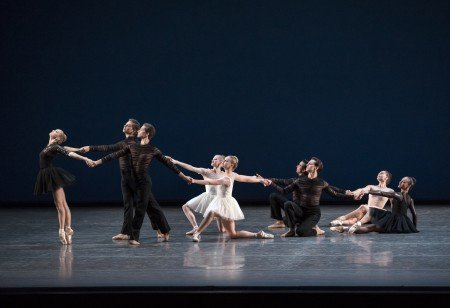 """New York City Ballet dancer Emma Von Enck (l) and members of the company in Gianna Reisen's """"Composer's Holiday"""" Photo by Paul Kolnik"""