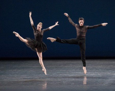 "New York City Ballet dancers Emma Von Enck and Roman Mejia in Gianna Reisen's ""Composer's Holiday"" Photo by Paul Kolnik"