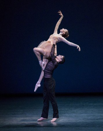 "New York City Ballet dancers Christina Clark and Gilbert Bolden III in Gianna Reisen's ""Composer's Holiday"" Photo by Paul Kolnik"