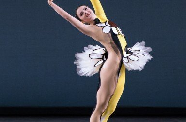 "New York City Ballet dancer  Indiana Woodward in  Justin Peck's ""Pulcinella Variations""   Photo by Paul Kolnik"