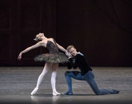 "New York City Ballet dancers Tiler Peck and Chase Finlay in Peter Martins's ""Swan Lake"" Photo by Paul Kolnik"