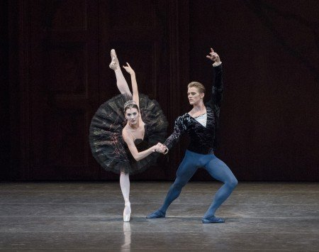 """New York City Ballet dancers Tiler Peck and Chase Finlay in Peter Martins's """"Swan Lake"""" Photo by Paul Kolnik"""
