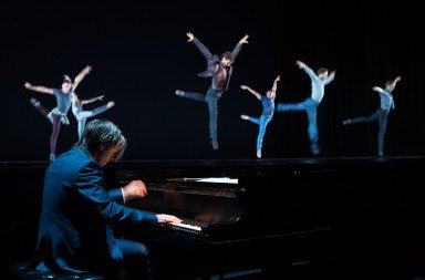 "Oregon Ballet Theatre dancers, with Pianist Hunter Noack, in Nicolo Fonte's ""Rhapsody in Blue""   Photo by Christopher Peddecord"