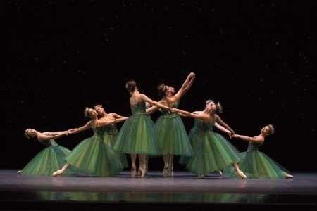 "Pacific Northwest Ballet dancers in ""Emeralds"" from George Balanchine's ""Jewels"" Photo by Angela Sterling"