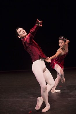 "Pacific Northwest Ballet dancers James Moore and Angelica Generosa in ""Rubies"" from George Balanchine's ""Jewels"" Photo by Angela Sterling"