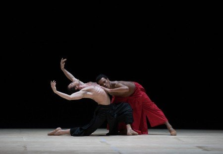 "Paulo Arrais and Irlan Silva in Wayne McGregor's ""Obsidian Tear"" Photo by Rosalie O'Connor courtesy of Boston Ballet"