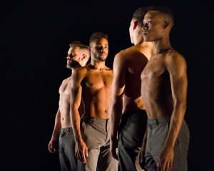 """Ryan Jackson, Travante Baker, Cameron Burke, and Kendrick D. Carter in Chase Brock's """"Men I've Known"""" Photo by Kyle Froman Photography"""