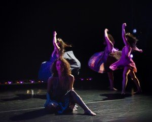 """Courtney Ortiz (foreground), Yukiko Kashiki, Ashley Eichbauer Newman, and Micki Weiner in Chase Brock's """"Slow Float"""" Photo by Kyle Froman Photography"""