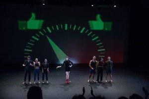 """Alison Clancy (center) and members of Zvi Dance in Zvi Gotheiner's """"LIKE"""" Photo by Heidi Gutman"""