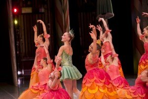 """Pacific Northwest Ballet dancer Elizabeth Murphy and members of the company in """"George Balanchine's 'The Nutcracker'"""" Photo by Angela Sterling"""