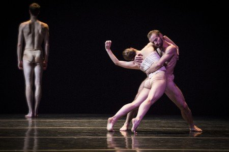 "Dresden Semperoper Ballett dancers Christian Bauch, Ayaha Tsunaki, and Jón Vallejo in Stijn Celis's ""Vertigo Maze"" Photo by Yi-Chun Wu"