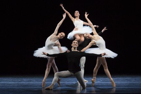 "Dresden Semperoper Ballett dancers Gina Scott, Alice Mariani, Zarina Stahnke, and Michael Tucker in David Dawson's ""5"" Photo by Yi-Chun Wu"