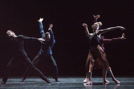 "Dresden Semperoper Ballett dancers Jón Vallejo, Francesco Pio Ricci, Aidan Gibson, and Ayaha Tsunaki in Joseph Hernandez's ""Ganz leise kommt die Nacht"" Photo by Yi-Chun Wu"