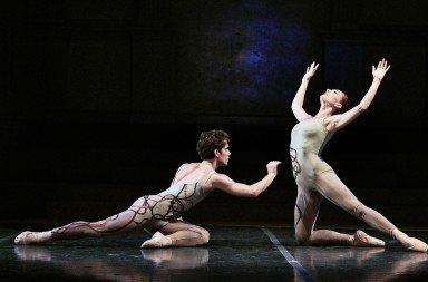 "New York Theatre Ballet dancers  Erez Milatin and Amanda Treiber  in Gemma Bond's ""Optimists""   Photo by Robert Altman"