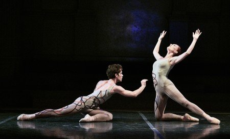"New York Theatre Ballet dancers Erez Milatin and Amanda Treiber in Gemma Bond's ""Optimists"" Photo by Robert Altman"