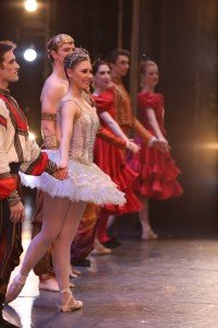 "Lauren Herfindahl (center, as Dew Drop) in Mikko Nissinen's ""The Nutcracker"" Photo by Sabi Varga courtesy of Boston Ballet"