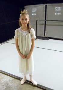 "Lauren Herfindahl (as Clara, backstage) in Mikko Nissinen's ""The Nutcracker"" Photo courtesy of Boston Ballet"