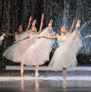 "Lauren Herfindahl (right, as a snowflake) in Mikko Nissinen's ""The Nutcracker"" Photo by Liza Voll courtesy of Boston Ballet"