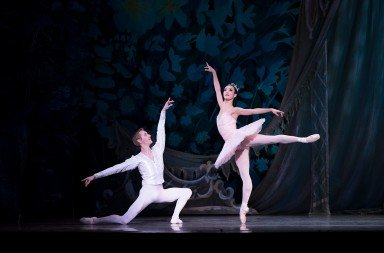 """Chauncey Parsons and Xuan Chang  in Oregon Ballet Theatre's production of  """"George Balanchine's 'The Nutcracker'""""    Photo by James McGrew"""