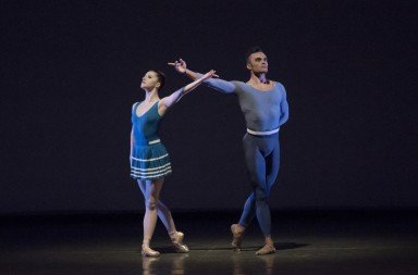 """Indiana Woodward and Taylor Stanley,  here in Justin Peck's  """"Year of the Rabbit""""    Photo by Paul Kolnik"""