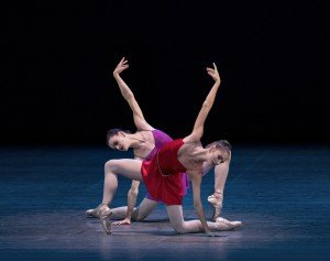 "New York City Ballet dancers Unity Phelan (in red) and Megan LeCrone in Peter Martins's ""The Red Violin"" Photo by Paul Kolnik"