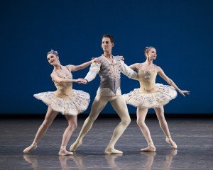 "New York City Ballet dancers  (l-r) Indiana Woodward, Cameron Dieck,  and Erica Pereira in  George Balanchine's  ""Divertimento No. 15"" Photo by Paul Kolnik"