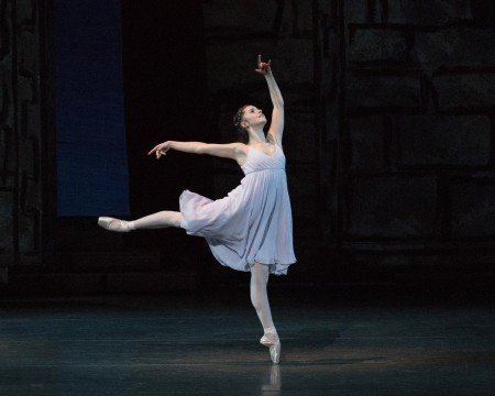 "New York City Ballet dancer Indiana Woodward in Peter Martins's ""Romeo + Juliet"" Photo by Paul Kolnik"