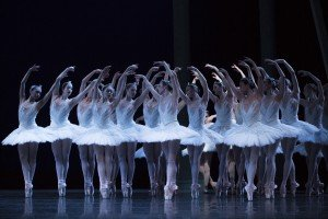 """Pacific Northwest Ballet dancers in Kent Stowell's """"Swan Lake."""" Photo by Angela Sterling"""