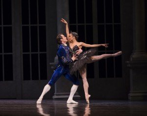 """Pacific Northwest Ballet principal dancers Seth Orza and Noelani Pantastico in Kent Stowell's """"Swan Lake"""" Photo by Angela Sterling"""