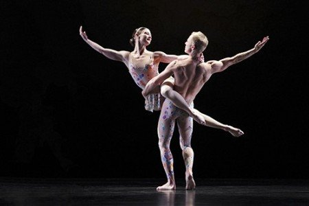 "Paul Taylor Dance Company dancers Laura Halzack and Michael Trusnovec in ""Arden Court"" Photo by Paul B. Goode"