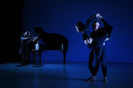 "BalletNext dancers Violetta Komyshan and Natalie Stys [pianist Elliot Figg; violinist Angela Kim] in Michele Wiles's ""Experience"" Photo by Eduardo Patino"