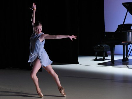 "BalletNext dancer Alice Regnouf in Michele Wiles's ""Vibrer"" Photo by Eduardo Patino"