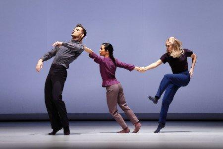 "Paul Taylor Dance Company members (l-r) Michael Novak, Madelyn Ho, and Jamie Rae Walker in Bryan Arias's ""The Beauty in Gray"" Photo by Paul B. Goode"