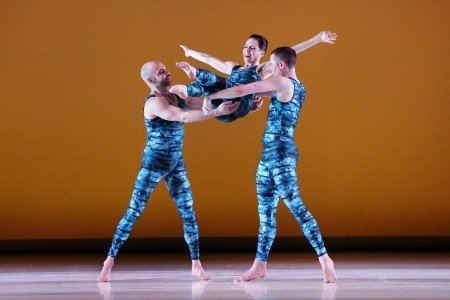 "Paul Taylor Dance Company members (l-r) George Smallwood, Eran Bugge, and Lee Duveneck in ""Concertiana"" Photo by Paul B. Goode"
