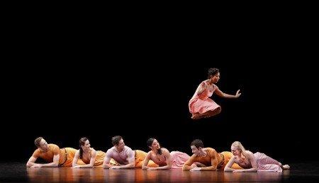 "Paul Taylor Dance Company dancers Michelle Fleet, with (l-r) James Samson, Eran Bugge, Michael Apuzzo, Parisa Khobdeh, Robert Kleinendorst, and Jamie Rae Walker in ""Esplanade"" Photo by Paul B. Goode"