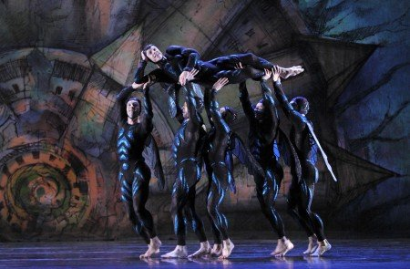 "Paul Taylor Dance Company dancer Michael Trusnovec and members of the company in ""Gossamer Gallants"" Photo by Paul B. Goode"