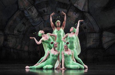 "Paul Taylor Dance Company dancers  (clockwise from top) Michelle Fleet,  Eran Bugge, Heather McGinley,  Laura Halzack and Jaimie Rae Walker  in ""Gossamer Gallants""   Photo by Paul B. Goode"