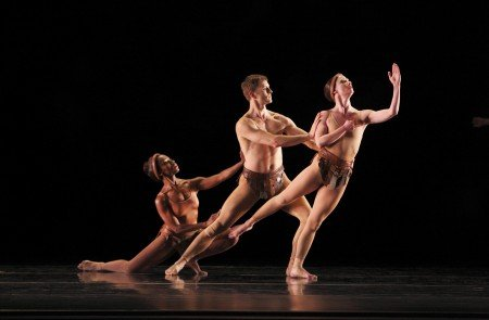 """Paul Taylor Dance Company members Michelle Fleet, James Samson, and Laura Halzack in """"Musical Offering"""" Photo by Paul B. Goode"""