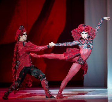"Oregon Ballet Theatre dancers Adam Hartley and Eva Burton in Septime Webre's ""ALICE (in wonderland)"" Photo by Yi Yin"