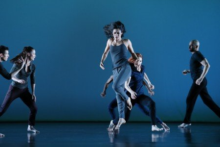 "Parisa Khobdeh (center) and members  of Paul Taylor Dance Company  in Doug Varone's ""Half Life"" Photo by Paul B. Goode"