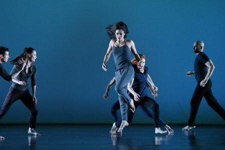 "Parisa Khobdeh (center) and members  of Paul Taylor Dance Company  in Doug Varone's ""Half Life"" Photo by Paul B. Goode"