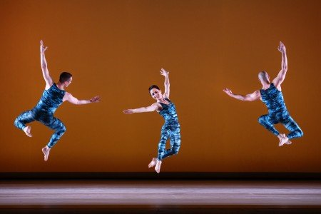 "Paul Taylor Dance Company members (l-) Lee Duveneck, Eran Bugge, and George Smallwood in ""Concertiana"" Photo by Paul B. Goode"